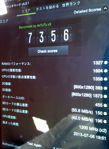 Kindle Fire HDのベンチマーク