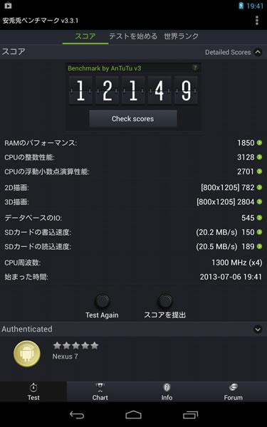NEXUS7(ネクサス7)のベンチマーク結果