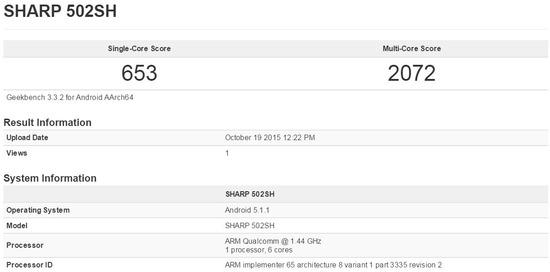 AQUOS Xx2 502SH ソフトバンクのベンチマーク結果