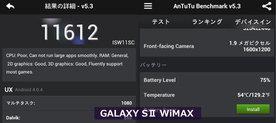GALAXY S2 WiMAXのAntutuベンチマーク結果
