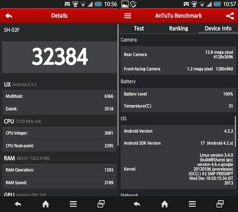 AQUOS PHONE EX SH-02FのAntutuベンチマーク結果