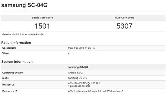 Galaxy S6 Edge SC-04Gのベンチマークスコア