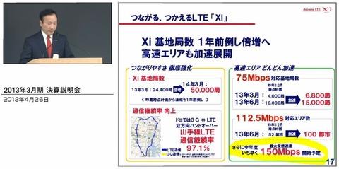 2013年度で150MbpsのLTE(Xi)