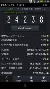 au HTC J One HTL22のAntutuベンチマークスコア