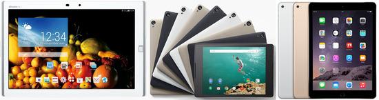 iPad AIR2やNEXUS9とARROWS Tab F-03Gのスペック比較