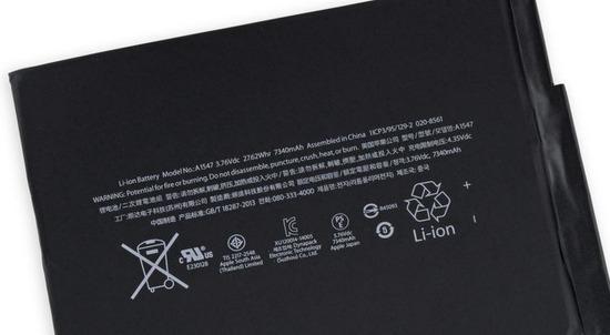 iPad AIR2のバッテリー容量は7340mAhで中国製