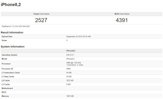 iPhone6s plusのベンチマーク結果