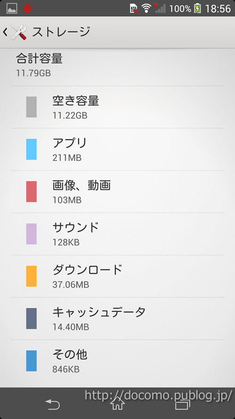 Xperia Z1のストレージ(空き領域など)の情報画面