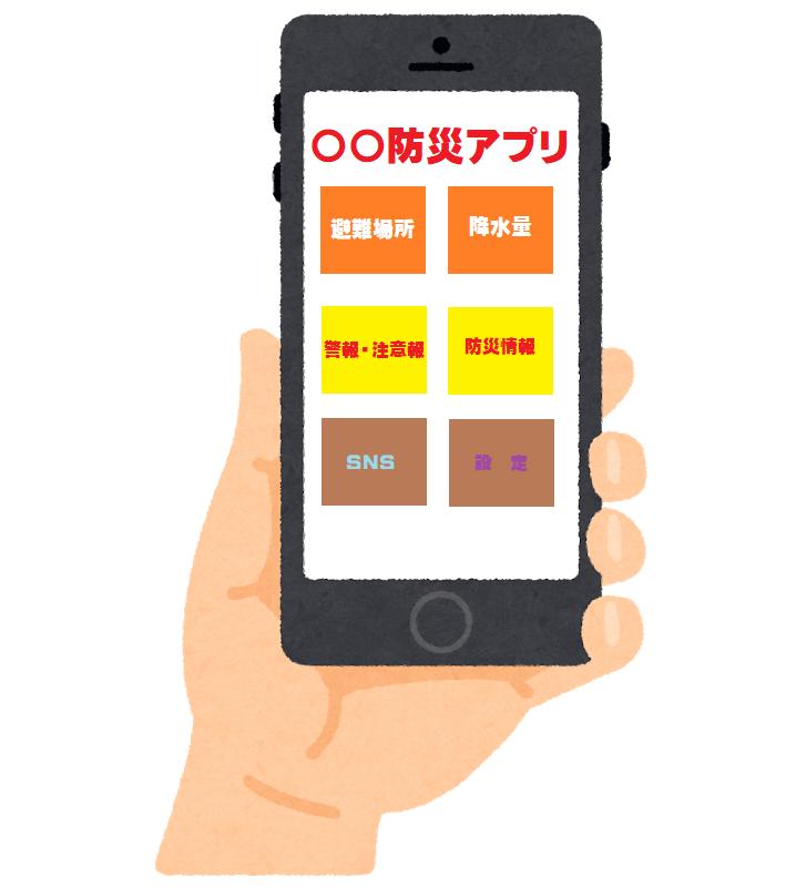 スマートフォン(防災アプリ)