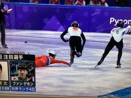 【動画】 北朝鮮選手、ショートトラック男子で日本選手を妨害し失格!露骨すぎると話題に
