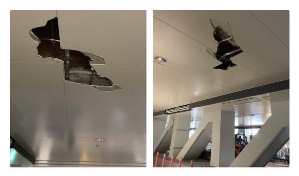 【豊洲市場】 天井に穴があく