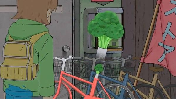 自転車のサドルをブロッコリー ...