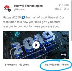 ファーウェイ、新年のあいさつツイートをiPhoneから発信する痛恨のミス → 即削除