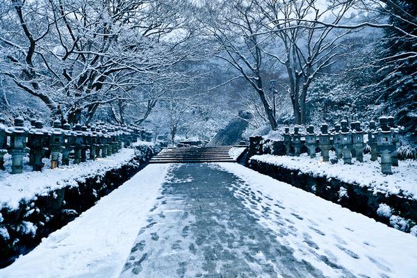 雪景色の灯籠と階段