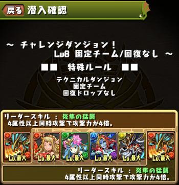 パズドラ チャレンジダンジョン Lv8 固定チーム