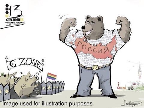 「駐英ロシア大使館がアップした『ロシアから見た欧州』のイラスト」海外の反応