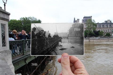 外国人「最近のパリの洪水と1910年に起きた大洪水を写真で比較する」海外の反応