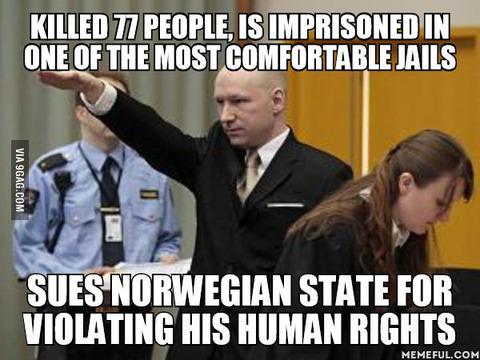 「ノルウェーの大量殺人犯、刑務所環境が人権侵害だと国を訴える」海外の反応
