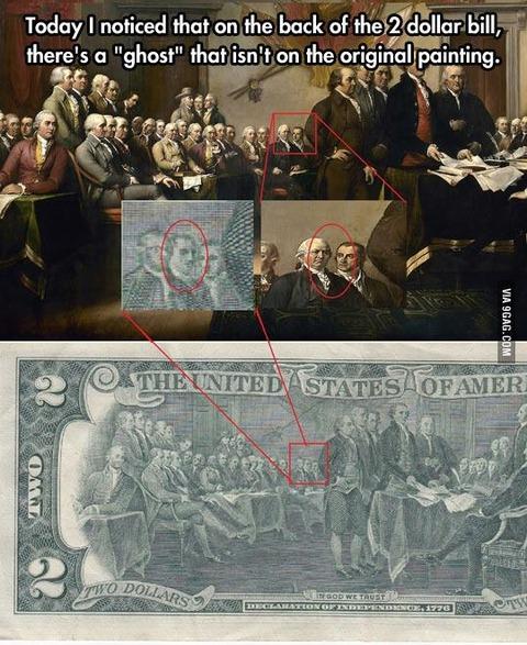 外国人「2ドル紙幣に描かれている絵に亡霊が混ざっているのに気が付いた」海外の反応