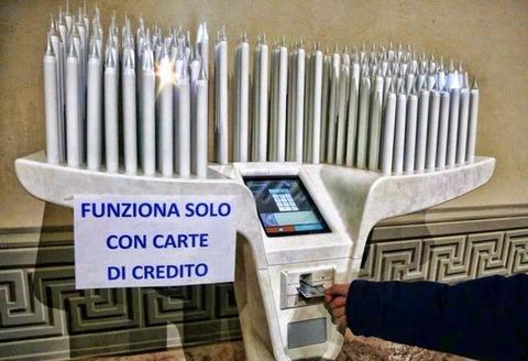 「イタリア教会のクレジットカード対応した寄付用キャンドル装置」海外の反応