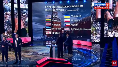 「ロシア国営放送が『非友好的国家』のリストを公開」海外の反応
