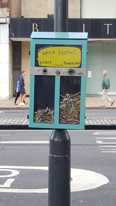 「イギリスのタバコの吸い殻で投票できるゴミ箱が話題に」海外の反応