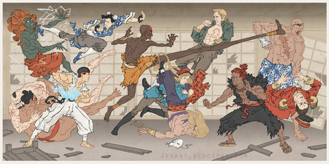 外国人「ゲームキャラが描かれた浮世絵を紹介する」海外の反応