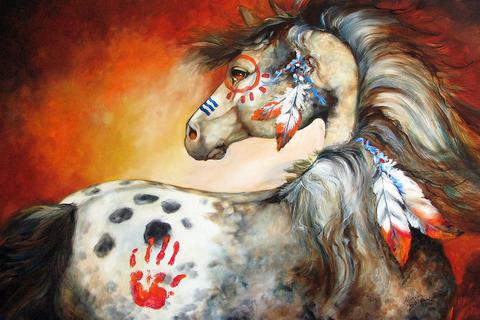 4-feathers-indian-war-pony-marcia-baldwin