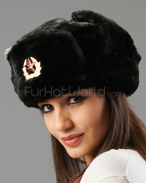 Womens_Faux_Fur_Russian_Ushanka_Hat_with_Badge_Black_1992