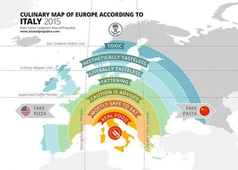 「イタリア人が考えていそうなヨーロッパ各国料理の格付け」海外の反応
