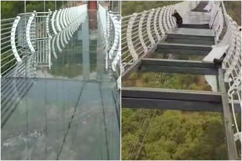 「中国で吊り橋のガラス床が強風で飛ばされ、観光客が取り残される」海外の反応