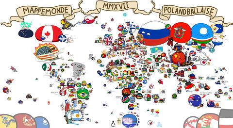 「2017年版ポーランドボール世界地図のイラスト」海外の反応