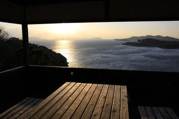 城山からの夕陽
