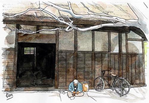 森田健二郎の水彩画 日だまりで手仕事をする農夫
