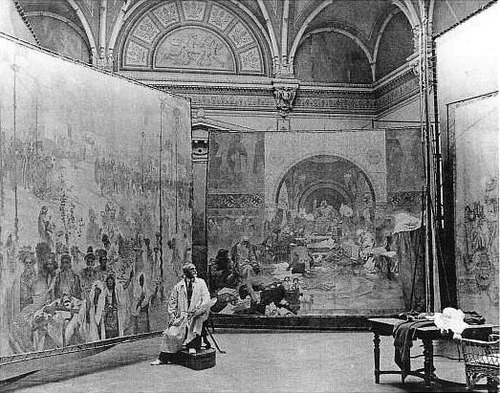 3 Alfons_Mucha_at_work_on_Slav_Epic
