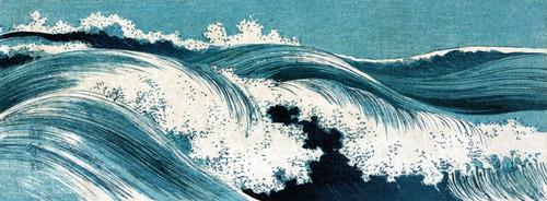 上原古年(こうねん)波濤図