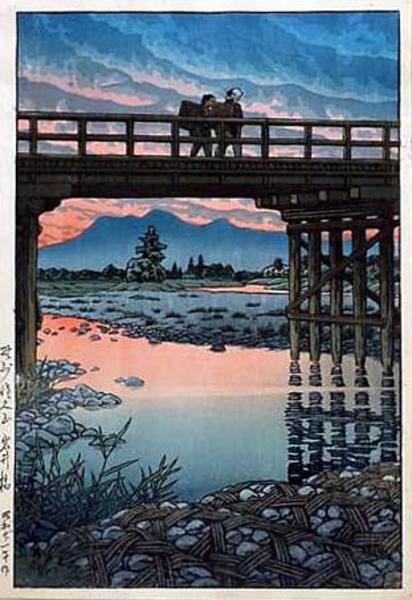 Kawase_Hasui-No_Series-Iwai_Bridge_Nozu_Sakuyama-