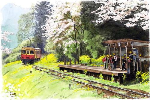 森田健二郎の水彩画 その5 菜の花と 桜とローカル線