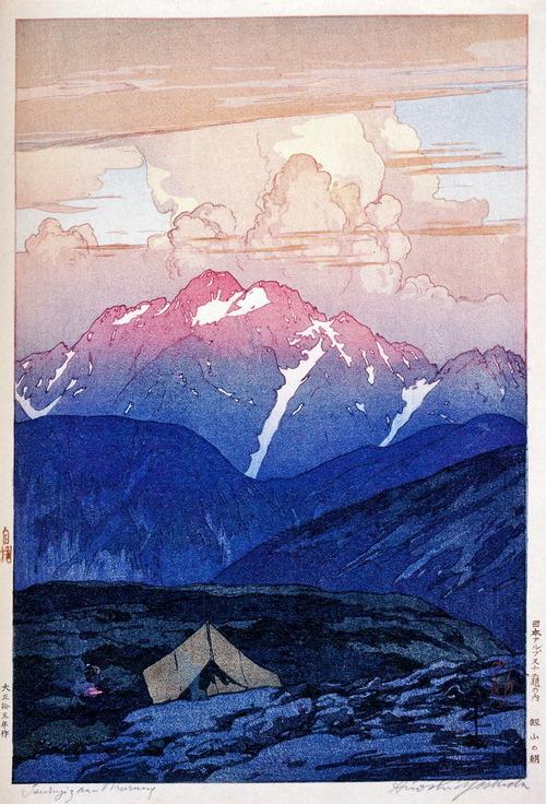 吉田 博 版画 剣の朝 (大正15年 1926 )