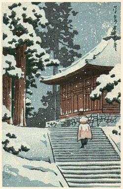 川瀬巴水 平泉konjiki-snow小