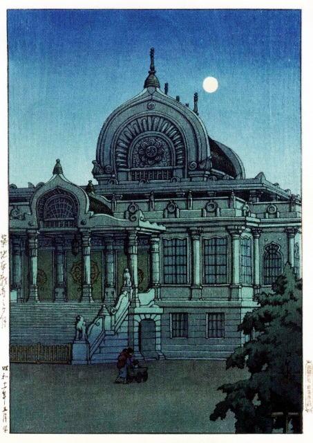 築地本願寺の夕月 正