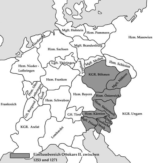 1253~1271 オタカル2世の領土