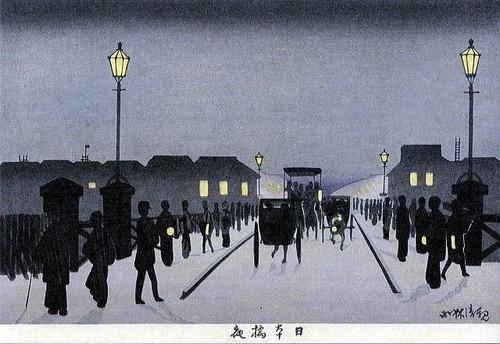 小林清親 日本橋夜