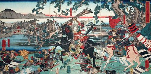 歌川芳員うたがわよしかず粟津の戦いの巴御前Wikipedia より