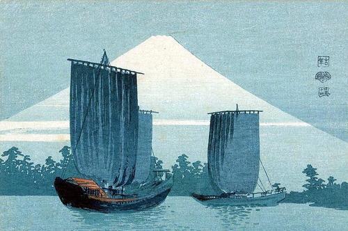 上原古年(こうねん)富士に帆船