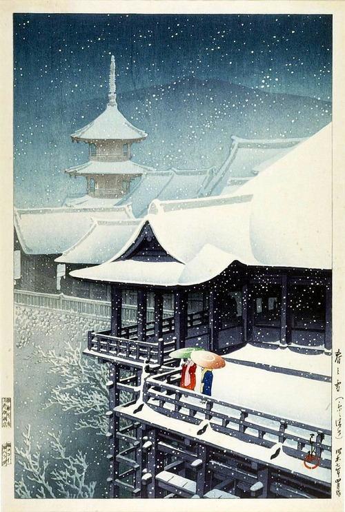 川瀬巴水 春の雪