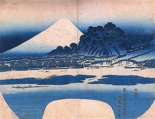 真乳山聖天と富士 絵 旦霞