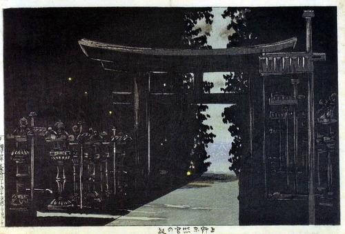 小林清親  上野東照宮の夜