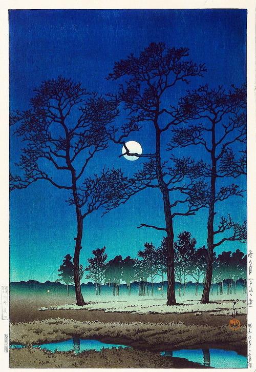 東京十二景より 冬の月(戸山の原)大