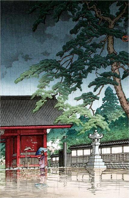 63_Hasui-b 護国寺の雨